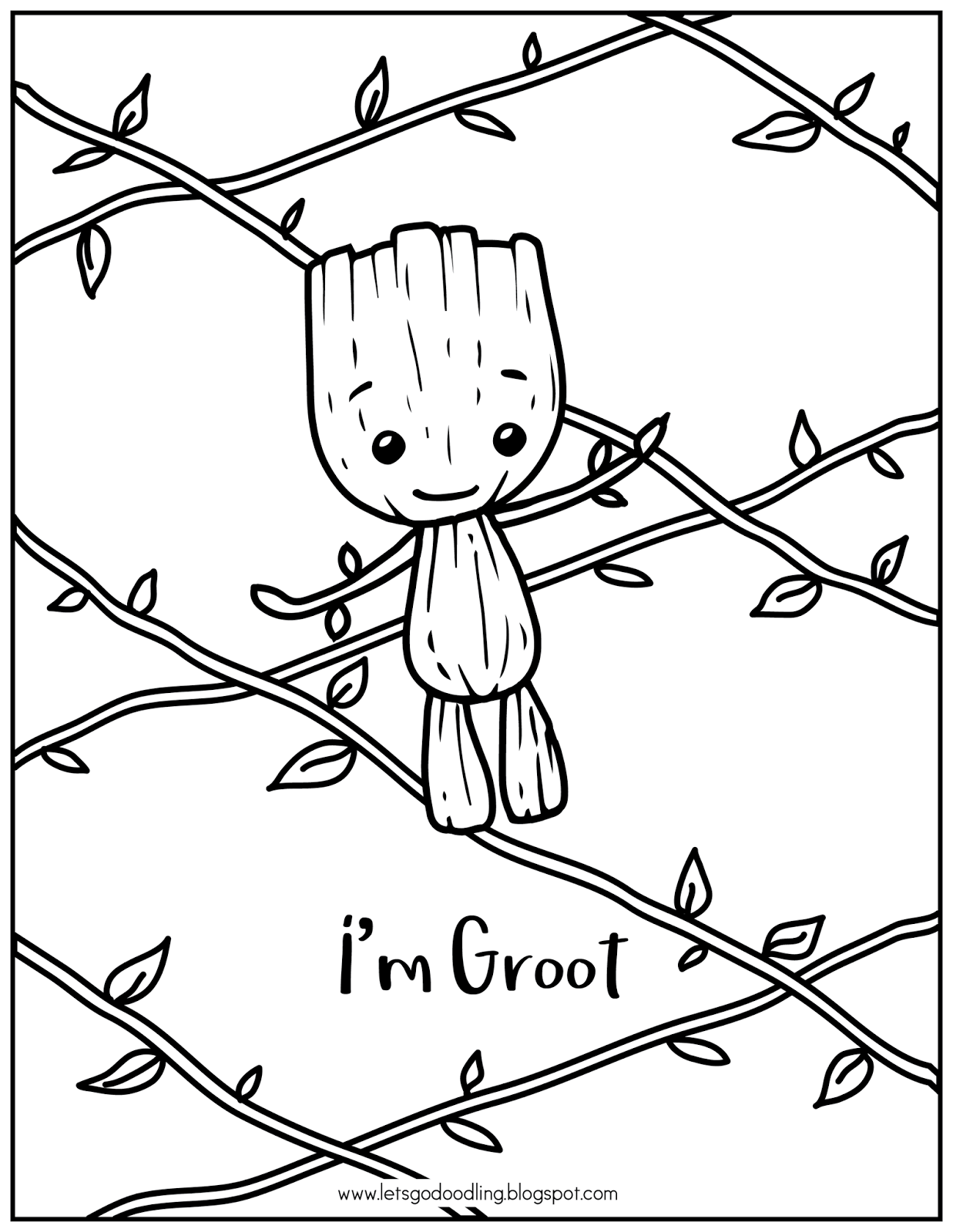 Free Printable Coloring Page I M Baby Groot