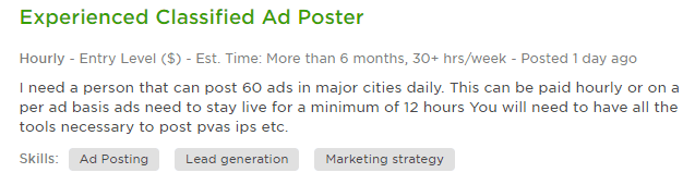 Ad posting jobs example