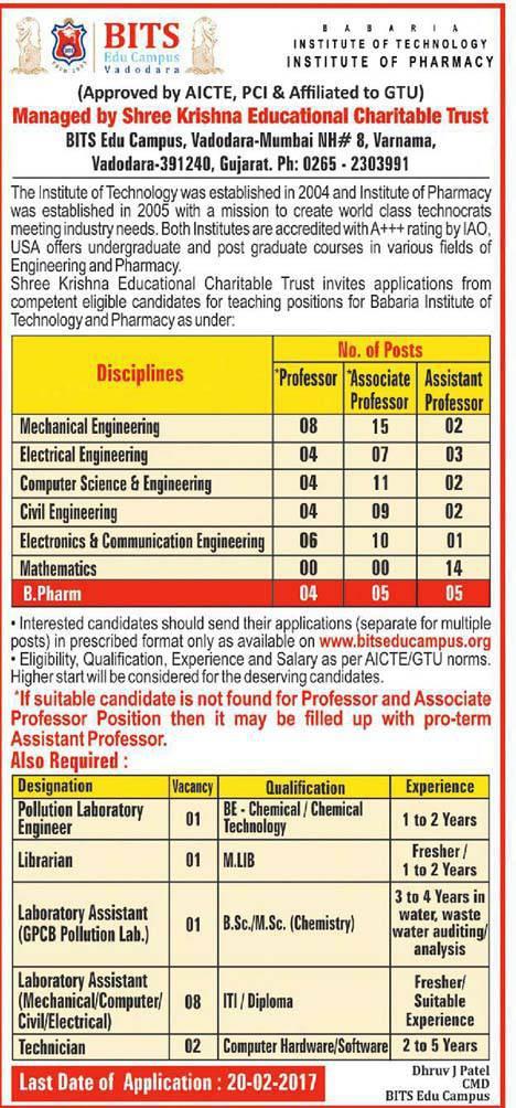 BITS Edu Campus Recruitment 2017 for Various Posts