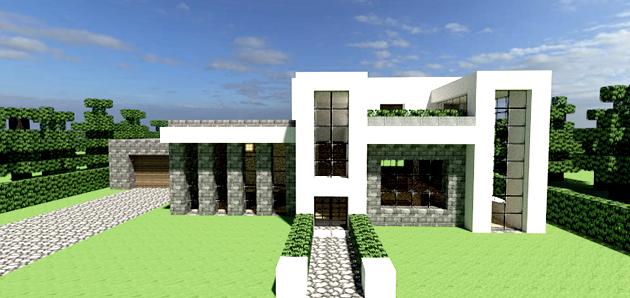 Gri disegni minegrift modern house 1 casa moderna en for Casa moderna y pequena en minecraft