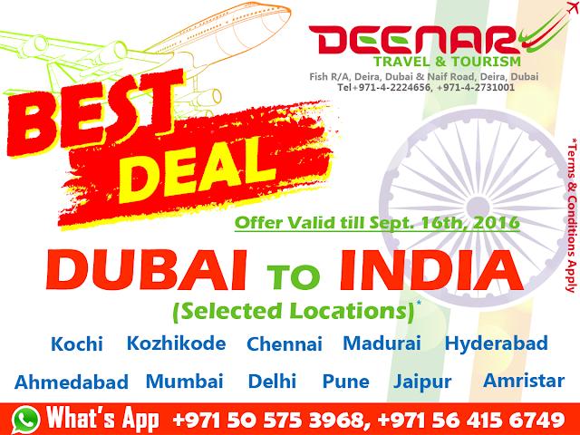 deenartravels.com, dubai to india best deals