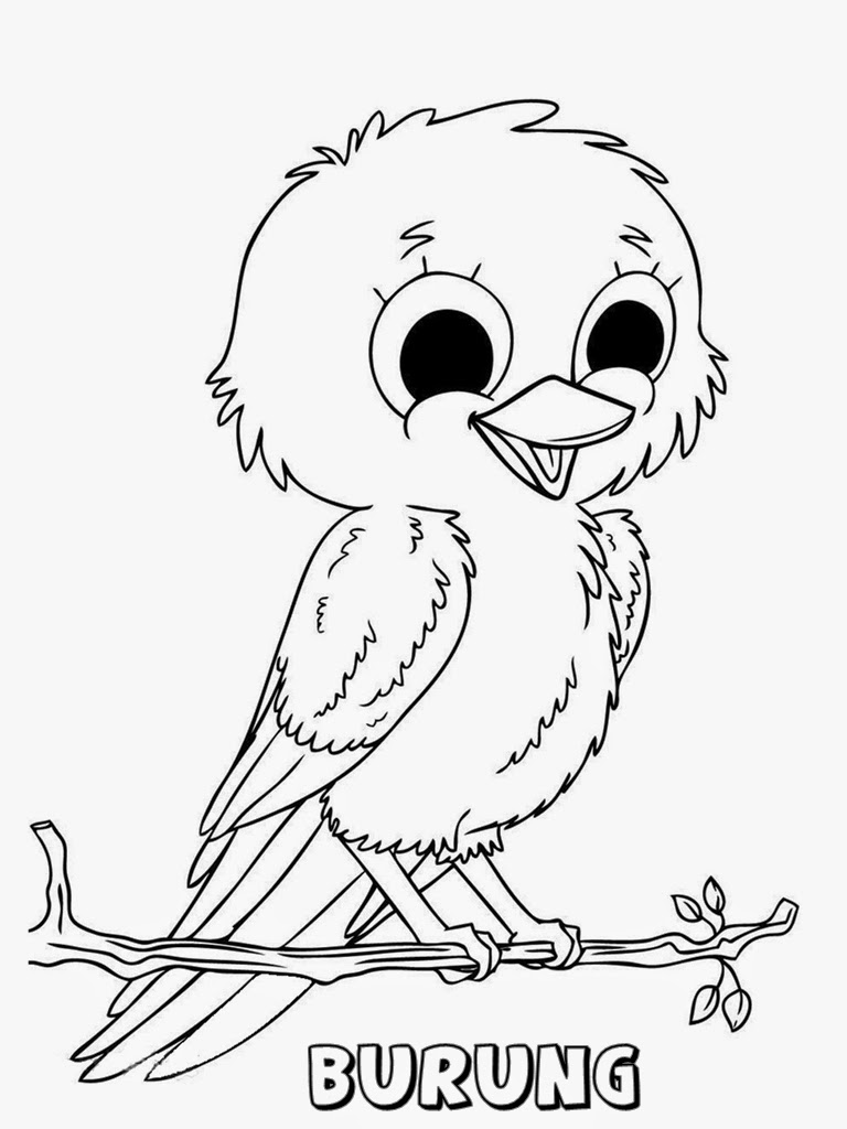 mewarnai gambar anak burung lucu