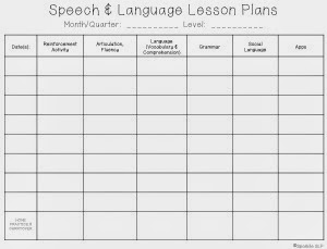 Speech and language lesson plan template 28 images for Speech pathology lesson plan template
