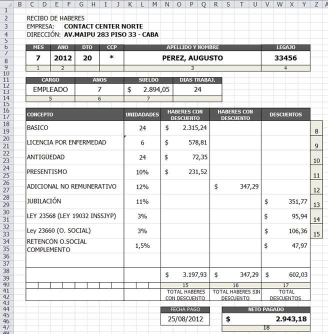 ISFT N° 199 Informática Ejercicio RECIBO DE SUELDO