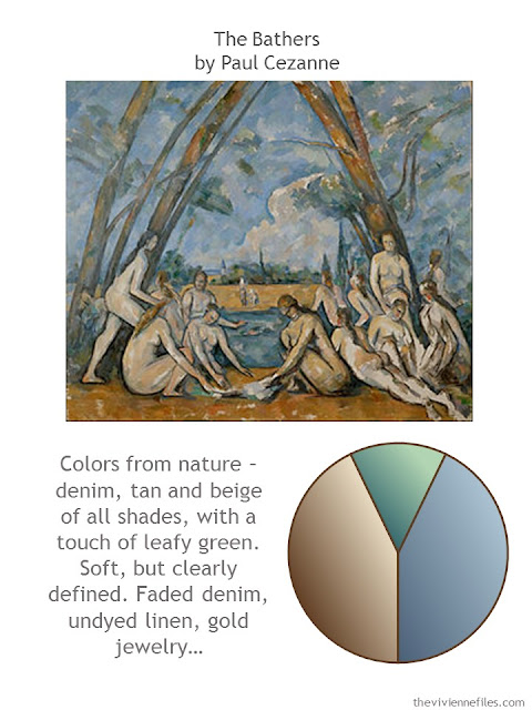 The Bathers by Paul Cezanne, with a style description and color palette.