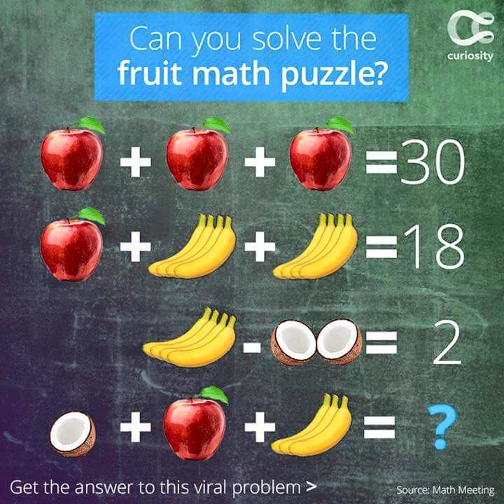 Can you solve this fruit math puzzle ?