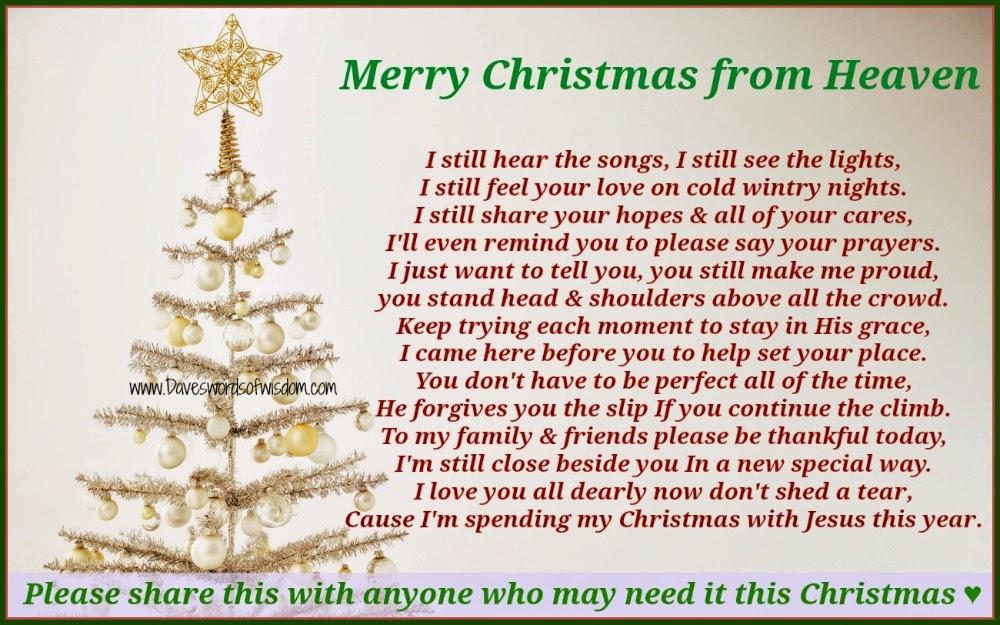 First Christmas Heaven Poem Printable