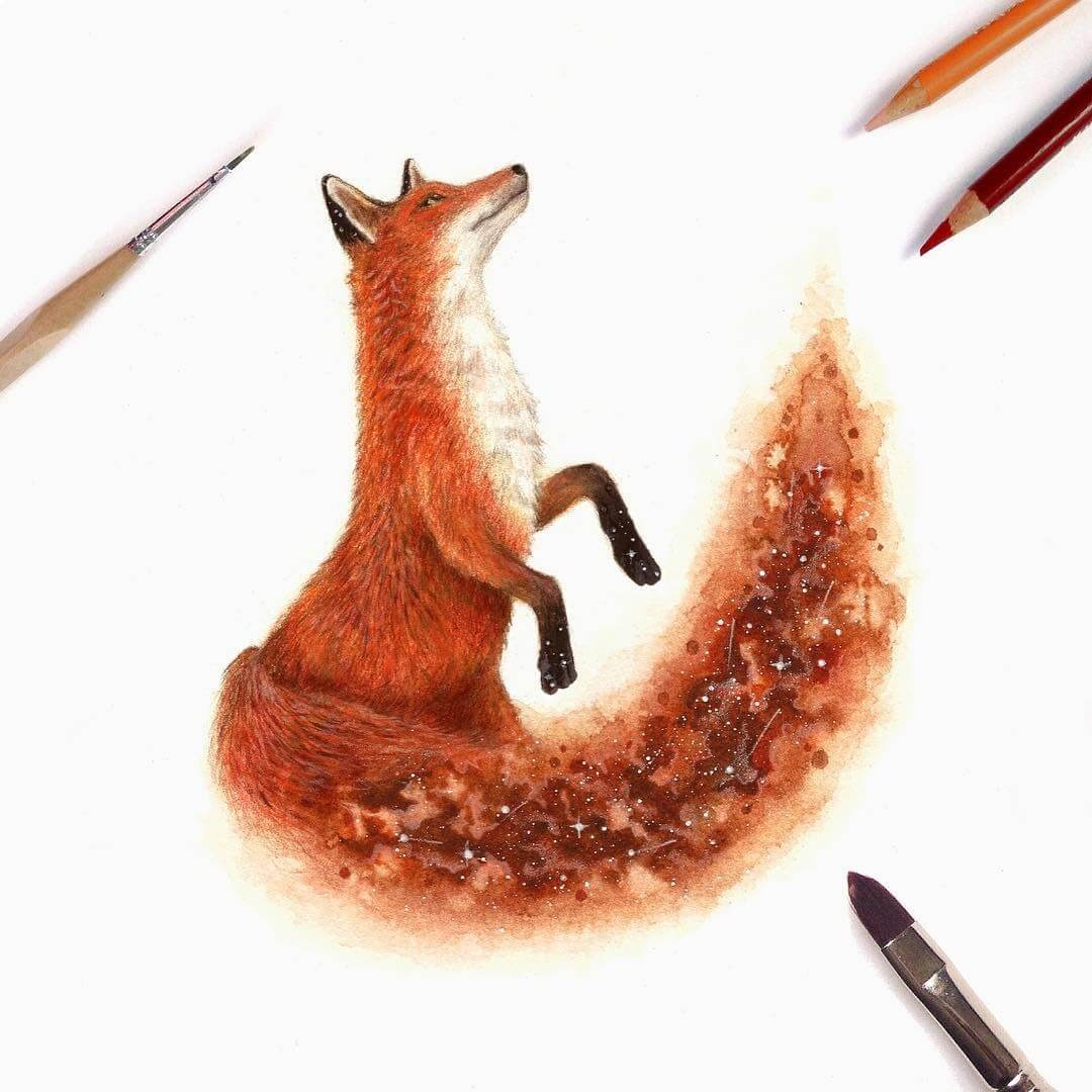 01-Fox-David-Ambarzumjan-Cosmic-Space-Fantasy-Animal-Drawings-and-Paintings-www-designstack-co