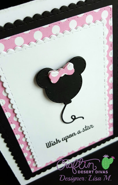This is a picture of a White, Black, and Pink Minnie Mouse Balloon card.