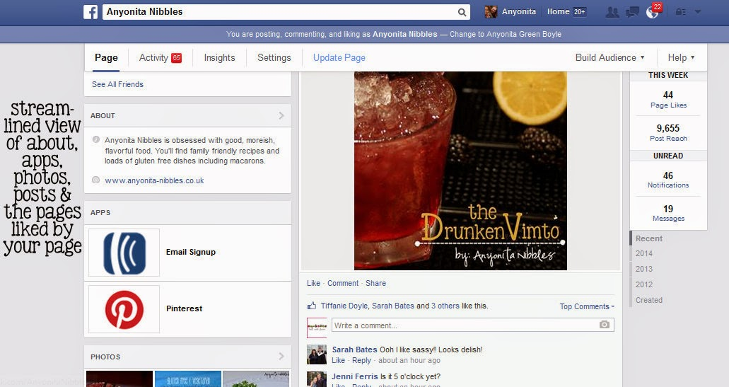 Facebook's new page layout left sidebare view