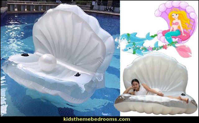 Seashell Inflatable Pool Float  giant shell pool floats - Inflatable Mermaid Princess Seashell Pool Floats