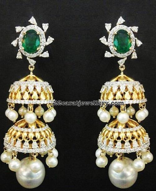 Diamond Emerald Pendant Ruby Emerald Beads Set