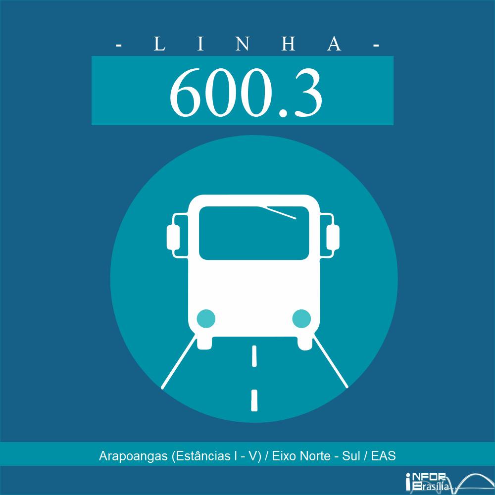 Horário de ônibus e itinerário 600.3 - Arapoangas (Estâncias I - V) / Eixo Norte - Sul / EAS