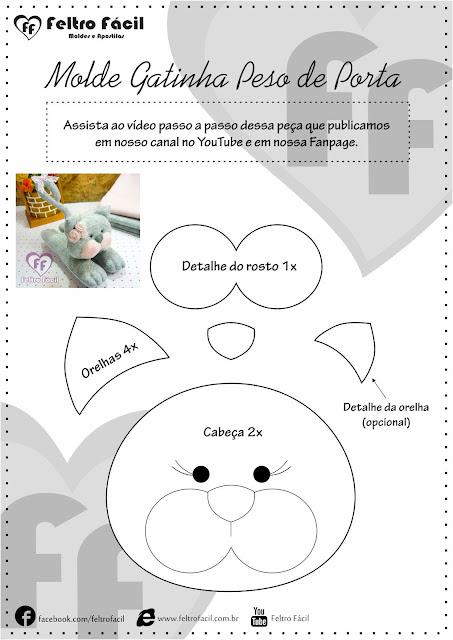"""alt=""""peso de porta de gato gatinho em feltro"""""""