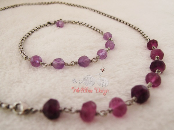 Amethyst Minlace (Minima Necklace) and Minlet (Minima Bracelet) by WireBliss