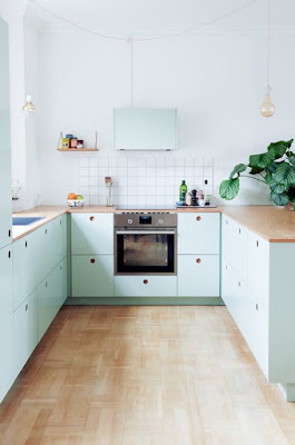 Mint Green, Aqua, and White Small Kitchen Ideas