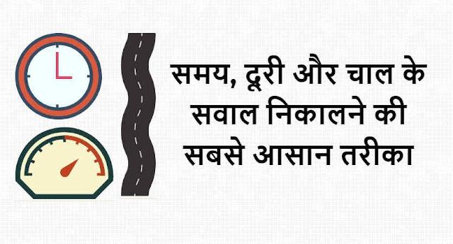 समय, दूरी और चाल के सवाल निकालने की सबसे आसान तरीका - Time, Speed and Distance in Hindi
