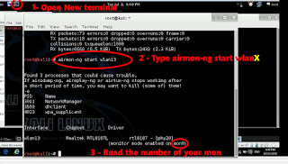 Open New terminal and type airmon-ng start wlanX then press enter