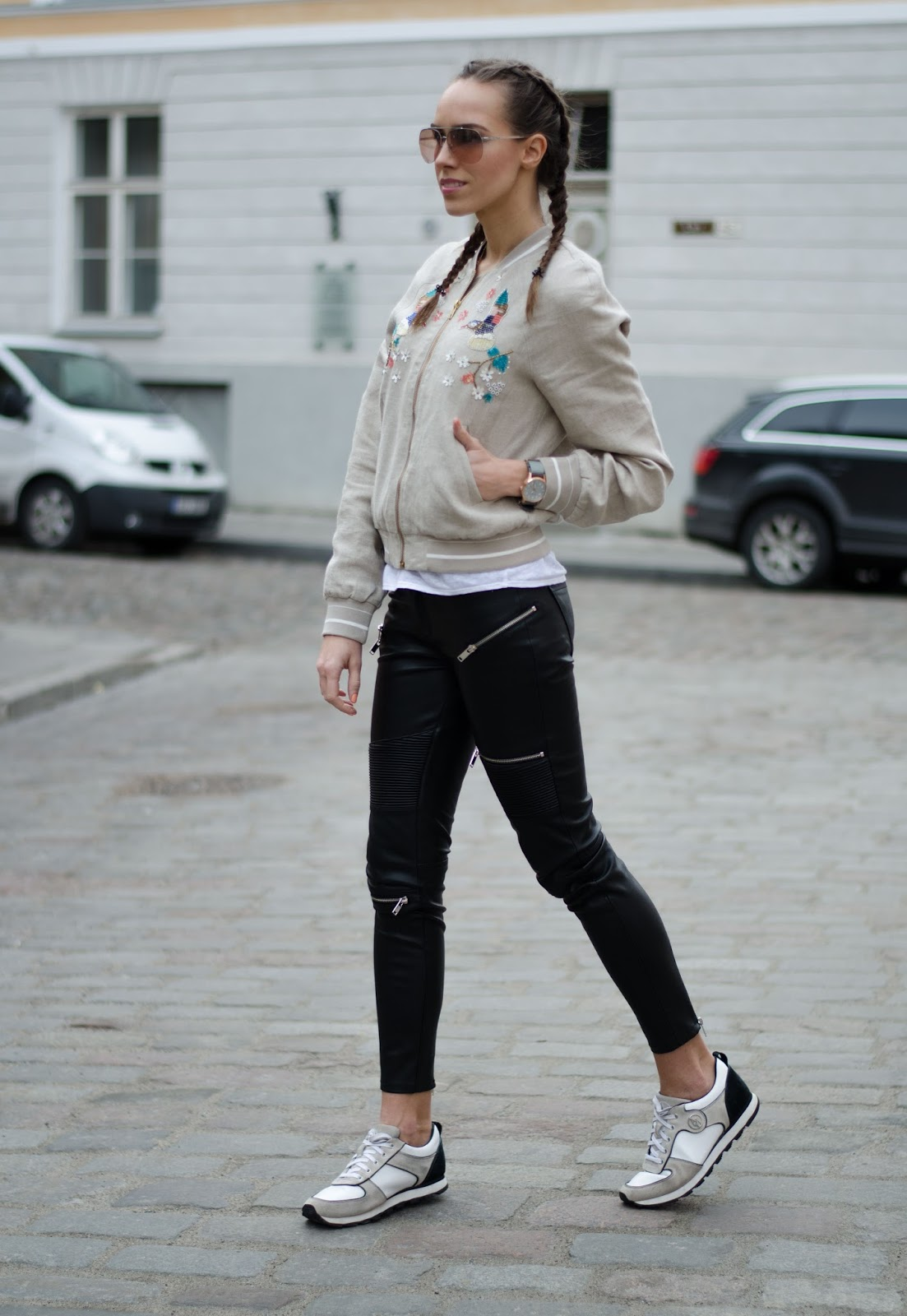 kristjaana mere embellished bomber jacket casual spring outfit