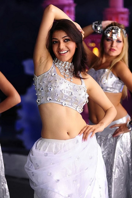 South Indian Actress Kajal Agarwal Navel Hip Armpits Show In White Dress