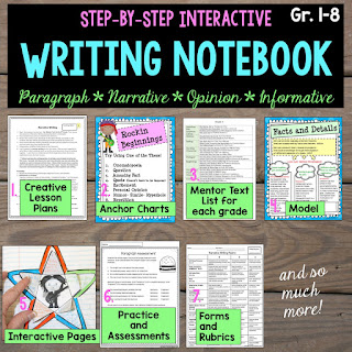 Writing workshop program filled with creative teaching lesson plans, anchor charts, mentor text, model writing, interactive pages, practice, forms, writing checklists, writing rubrics.