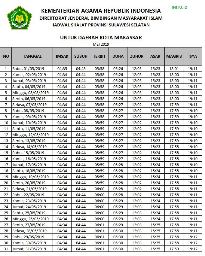 Jadwal Imsakiyah Ramadhan 2019 / 1440 H Kota Makassar