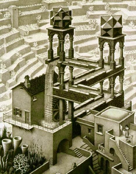 Cachoeira - Escher, M. C. e suas geniais litogravuras