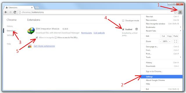 حل مشكلة توافق IDM Integration Module مع جوجل كروم واضافة انترنت الداونلود مانجر الى جوجل كروم