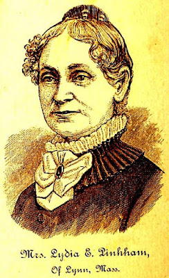mature woman with slightly curly hair and high collar protrayed in brown and white