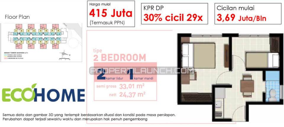Apartemen EcoHome CitraRaya Tipe 2 BR