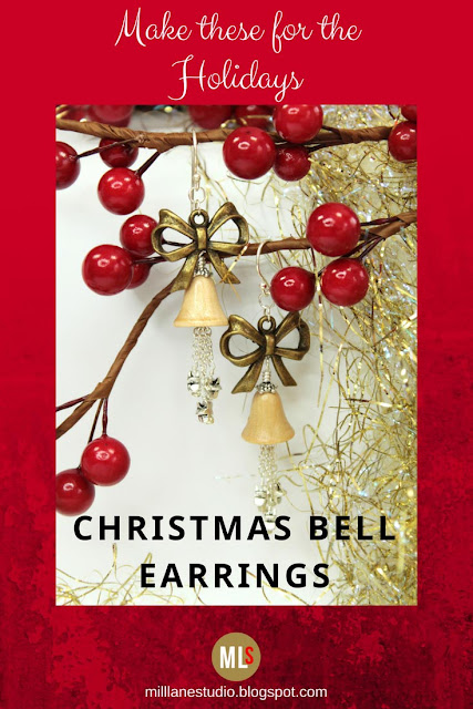 Wooden Bell bead cap Christmas earrings inspiration sheet