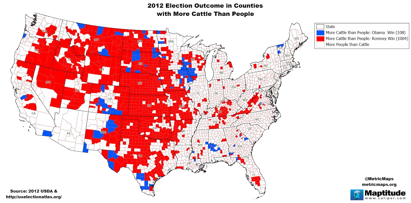 Counties with more cattle than people