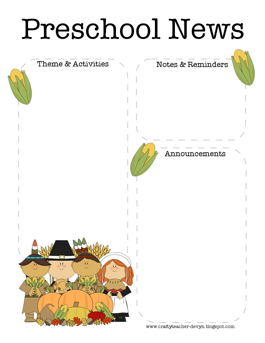 November Thanksgiving Preschool Newsletter Template The
