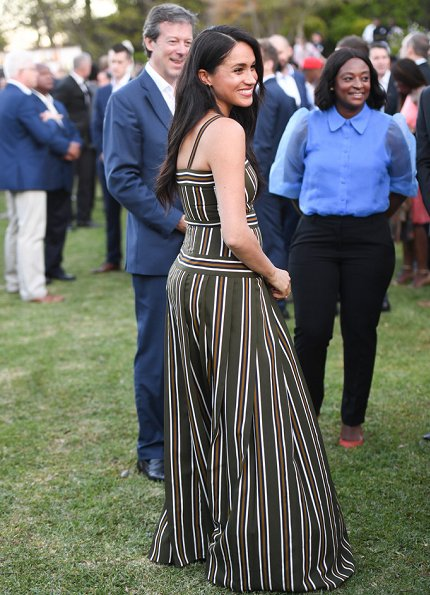 Meghan Markle wore Martin Grant pleated stripe long dress