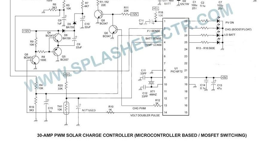 SPLASH ELECTR: PWM SOLAR CHARGE CONTROLLER CIRCUIT AND