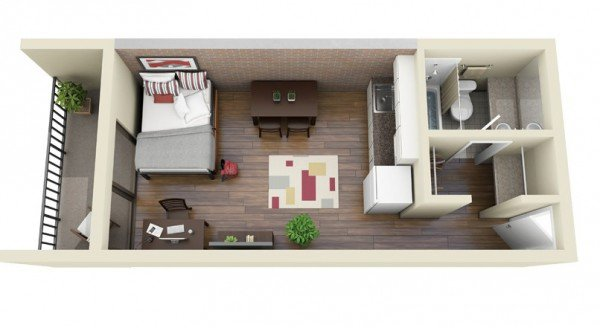 long narrow single bedroom 3d floor plans with terrace