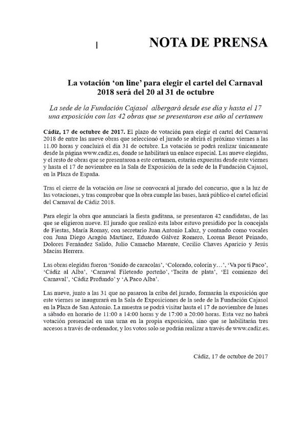 La votación 'on line' para elegir el cartel del Carnaval 2018 será del 20 al 31 de octubre