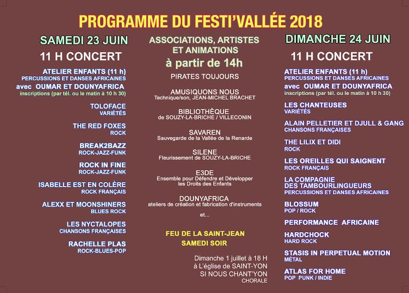 Programmation de la 20ème édition du 23 au 24 juin 2018 à Souzy-la-Briche