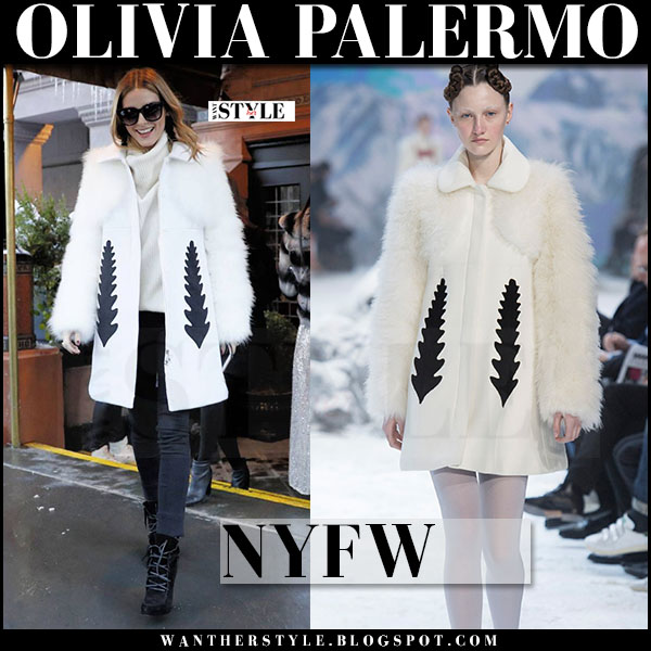 Olivia Palermo in white fur sleeve moncler coat and black skinny jeans at New York Fashion Week what she wore front row