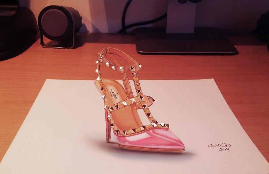 07-Valentino-Stiletto-Shoe-Nikola-Čuljić-2D-Anamorphic-Drawings-that-Look-3D-www-designstack-co