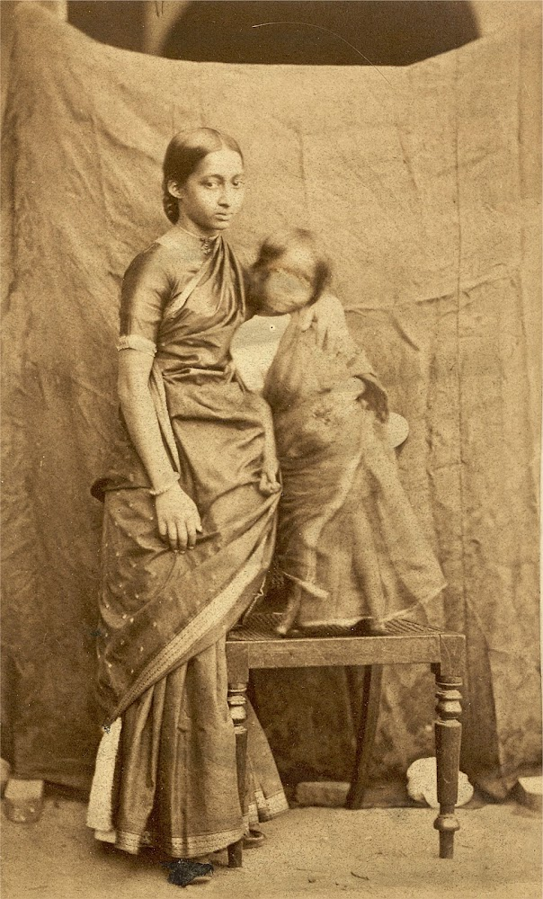 Portrait of a South Indian Woman and Child, Madras (Chennai), Tamil Nadu - c.1867