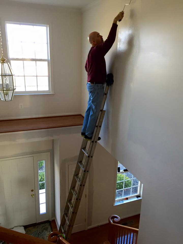 Hubby Painting on Dangerous Ladder