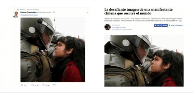 Manifestante chilena, Chile, Cataluña, policía, manipular fotos