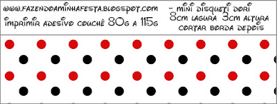Red Polka Dots in Black and White Free Printable Labels.