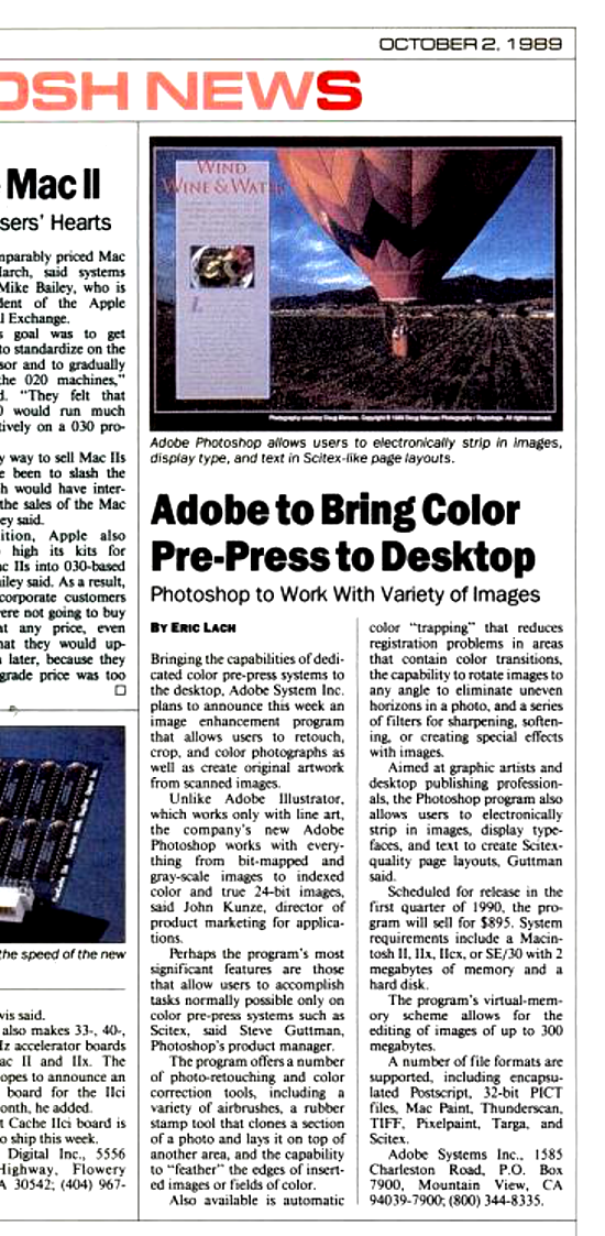 Photoshop pre-launch review 1989
