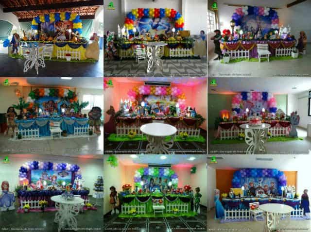 Decoração festa feminina - Mesa luxo forrada com tecido