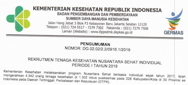 Rekrutmen Tenaga Kesehatan Nusantara Sehat Individual Periode 1 Tahun 2019