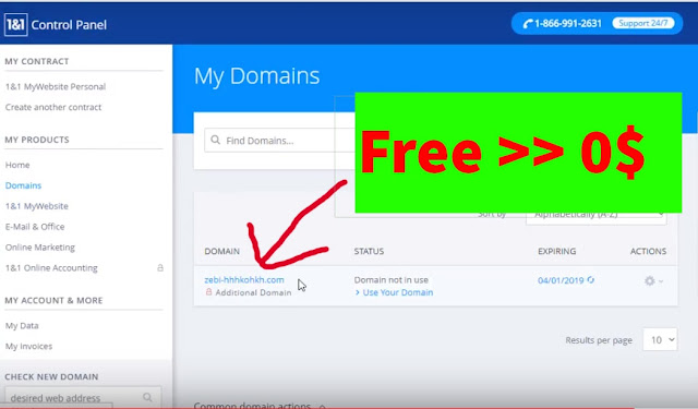 How to get  domaind and hosting 1and1 for free 2018