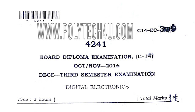 C-14 DECE OCT/NOV-2016 DIGITAL ELECTRONICS QUESTION PAPER FPR FREE DOWNLOAD