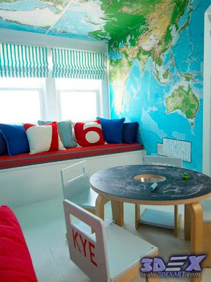 world map wall art, world map ceiling, world map decor for interior design